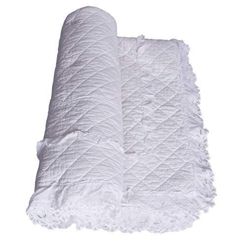 Bettüberwurf Patchwork Decke Weiss Quilt Landhausstil Tagesdecke 140x200cm kdm028 Palazzo Exklusiv