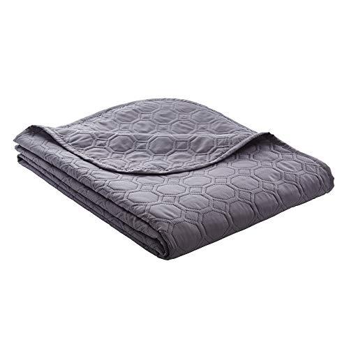Ibena Nancy Tagesdecke 140x210 cm - Bettüberwurf dunkelgrau, leichte Decke mit Steppmuster