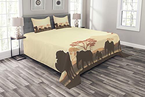 ABAKUHAUS Afrika Tagesdecke Set, Safari-Tierelefant, Set mit Kissenbezügen Weicher Stoff, für Doppelbetten 220 x 220 cm, Hellgelb Braun