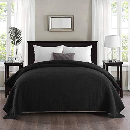 WOLTU Tagesdecke Bettüberwurf 170x210cm Schwarz, Bedspreads Patchwork Wendedesign Kariert, Schlafzimmer Tagesdecken Einzelbett, Steppdecke unterfüttert und gesteppt