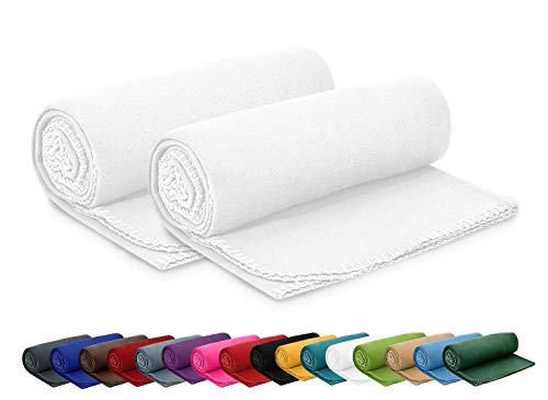 2er Set Polar Fleecedecke 130x160 cm ca. 400g schwer OekoTex mit Anti-Pilling und Kettelrand weiß, weitere Farben erhältlich