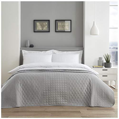 Gaveno Cavailia Premium Qualität Pinsonic Tagesdecke Überwurf, pflegeleicht, luxuriös, gesteppt, großes Sofa Bettbezug, silberfarben, geometrisch, Doppelbett (150 x 200 cm), Polyester, 150 x 200 cm