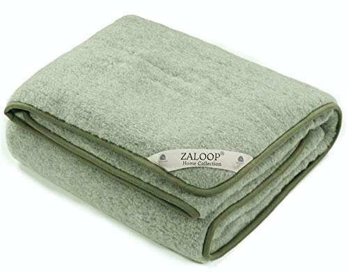 Zaloop 100% Schurwolle Merino Wolldecke Decke Wohndecke Bettdecke Tagesdecke Wolle (ca. 180 x 200 cm, grün)