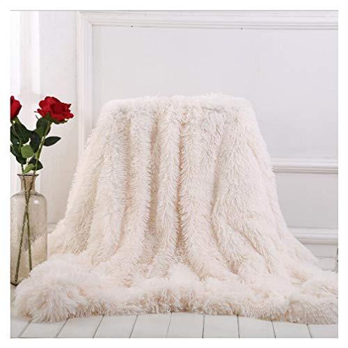 Arkey weiche, lange Zotteldecke aus Kunstfell, warm, elegant, gemtlich, flauschig, als Tagesdecke geeignet, Fleece, wei, 160 x 200 cm