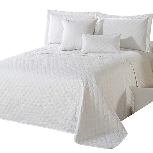 Delindo Lifestyle® Tagesdecke Bettüberwurf Premium WEIß, für Doppelbett, einfarbig für Schlafzimmer, 220x240 cm