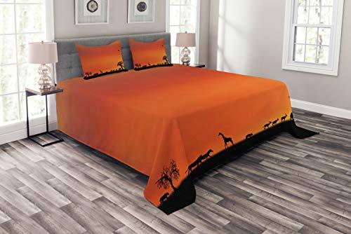ABAKUHAUS Afrika Tagesdecke Set, Safari Sonnenuntergang mit Gull, Set mit Kissenbezügen Klare Farben, für Doppelbetten 220 x 220 cm, Dunkelorange Schwarz