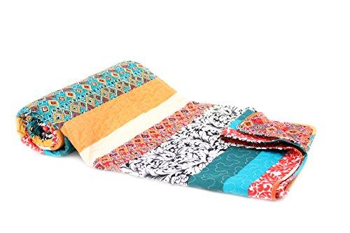 1001 Wohntraum Tagesdecke Zoe Streifen Boho Shabby chic Vintage Plaid Quilt Decke (150 x 200cm)