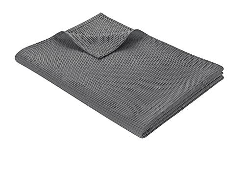 WOHNWOHL Tagesdecke 150 x 200 cm • Waffelpique leichte Sommerdecke aus 100% Baumwolle • Luftige Sofa-Decke vielseitig einsetzbar • Pflegeleichte Wohndecke • Baumwolldecke Farbe: Grau
