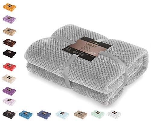 DecoKing 66256 Kuscheldecke 150x200 cm Stahl Decke Microfaser Wohndecke Tagesdecke Fleece weich sanft kuschelig skandinavischer Stil grau anthrazit Henry