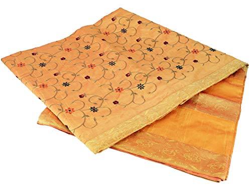 Guru-Shop Brokat- Samtdecke, Tagesdecke, Bettüberwurf - Orange/gelb, Synthetisch, 270x230 cm, Patchwork Steppdecke aus Indien