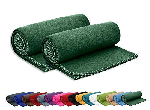 2er Set Polar Fleecedecke OekoTex 130x160 cm ca. 400g schwer mit Anti-Pilling und Kettelrand dunkelgrün grün, weitere Farben erhältlich