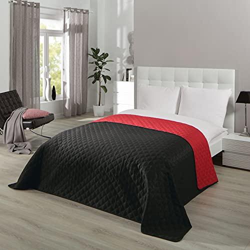 Tagesdecke Bettüberwurf Serie Premium Duo, für Doppelbett, schwarz rot, für Schlafzimmer, 220x240 cm