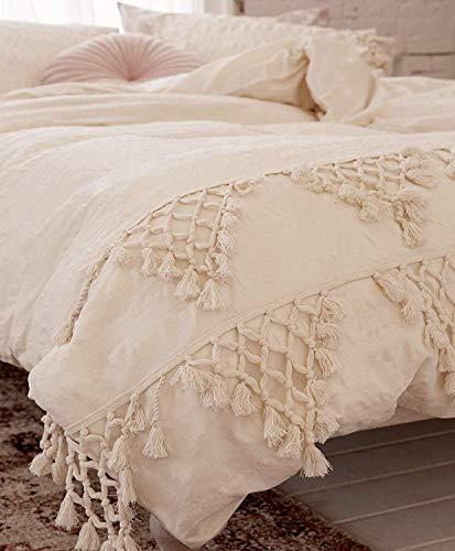 Flber outlet Elfenbeinfarbener Bettbezug für King-Size-Bett, Boho-Baumwolle, Quaste, Tagesdecke, Bettdeckenbezug, 243,8 x 264,2 cm (218,4 x 228,6 cm)