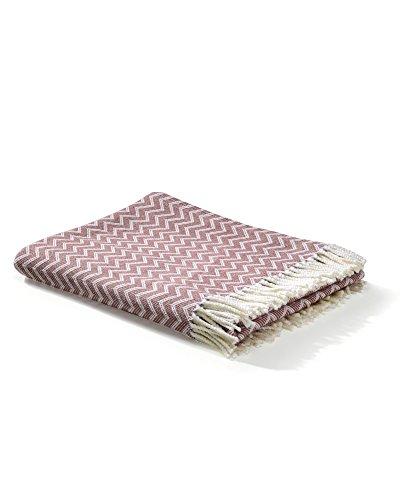 myHomery Decke aus Baumwolle - Tagesdecke leicht & kuschelig - Made IN EU - Wolldecke mit Zick-Zack Muster - Wohndecke Fransen - Kuscheldecke modern und hochwertig - Weiß/Altrosa   130 x 170 cm