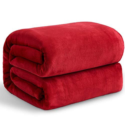 Hansleep Kuscheldecke Rot 220x240 cm Wohndecke Fleecedecke extra Weich & Warm Sofadecke/Couchdecke Flauschige Decke Mikrofaser Bettüberwurf Tagesdecke