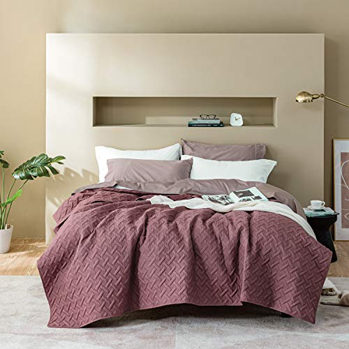 BEDSURE Tagesdecke 200x220 rosa Schlafzimmer- Bettüberwurf 200 x 220 cm für Bett, Wohndecke aus Mikrofaser mit Ultraschall genäht, als Steppdecke Sommer Komfort und Weich