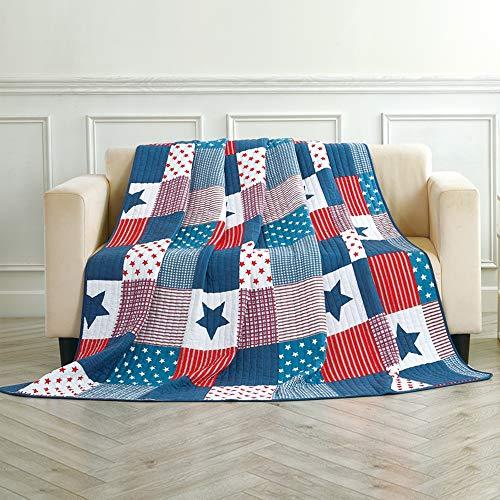 Asvert Quilt Tagesdecke 100% Baumwolle Bettüberwurf Steppdecke Patchwork Bettdecke Einzelbett Sofa(150 * 200, Blau)