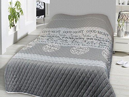 Fashion&Joy XL Bettüberwurf Good Night Tagesdecke gesteppt 220x240 Steppdecke grau Überwurf ÖKOTEX Decke Vintage Shabby Chic Typ456
