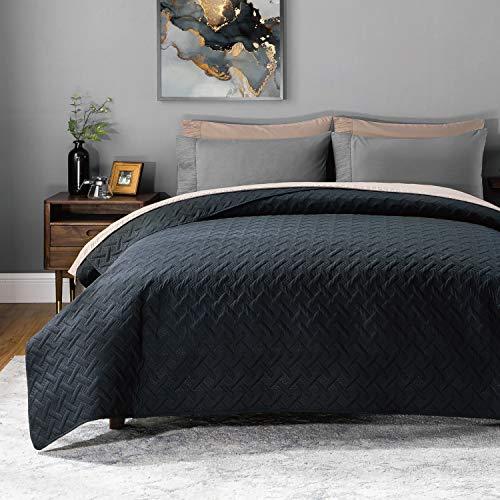 BEDSURE Tagesdecke Bettüberwurf 220x240 schwarz - gesteppt Quilt Überwurf Bett Überwurfdecke leicht, bedspreads Tagesdecken 220x240cm bei Ultraschall genäht