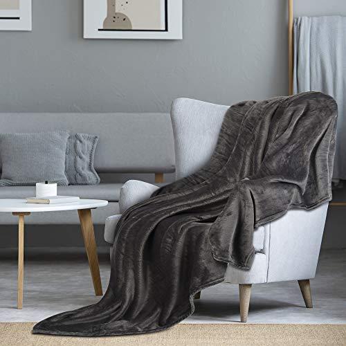 i@HOME Kuscheldecke Grau,200x220 cm,OekoTex flauschig und plüsch Fleecedecke als Sofadecke Couchdecke Wohndecke,weiche& warme Sofaüberwurf Decke Wohndecken Kuscheldecken