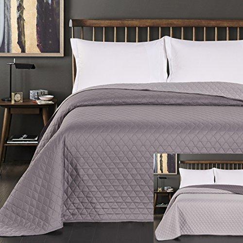 DecoKing 29732 Tagesdecke 220 x 240 cm Stahl anthrazit grau Silber Bettüberwurf zweiseitig pflegeleicht Axel