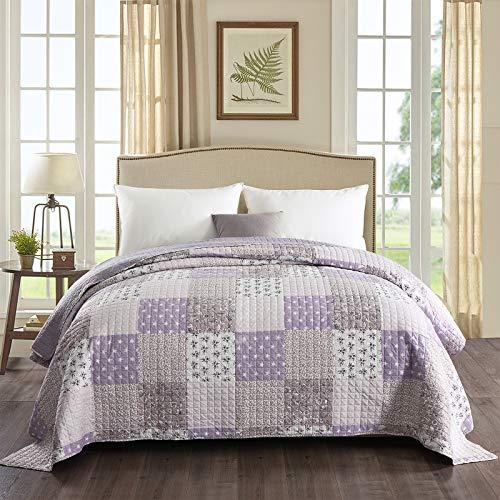 WOLTU® BD10m01, Tagesdecke Bettüberwurf Steppdecke Patchwork Wendedesign Bettdecke Stepp Decke Doppelbett unterfüttert und gesteppt, 150x200 cm