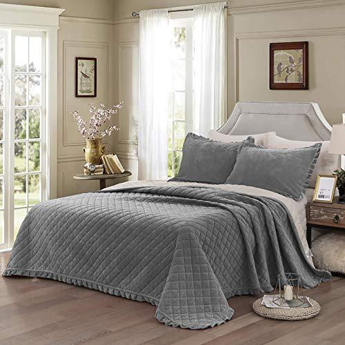 WONGS BEDDING Tagesdecke Bettüberwurf 220x240 cm Steppdecke Doppelbett gesteppt Kristallsamt 3 teilig Bettdecke Stepp Decke Tagesdecken mit 2 Kissenbezug 50 x 80cm für Schlafzimmer (Grau)