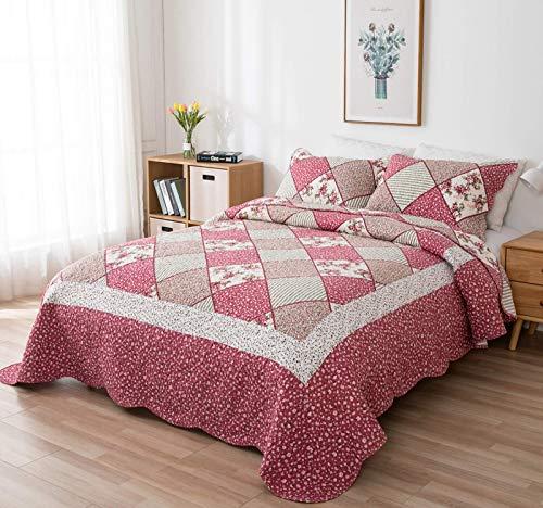 VIVILINEN 3 Teilig Bettwäsche Set 230 x 250cm Tagesdecke Bettüberwurf Patchwork Steppdecke Bettdecke für Doppelbett (Rosa, 230 x 250 cm)