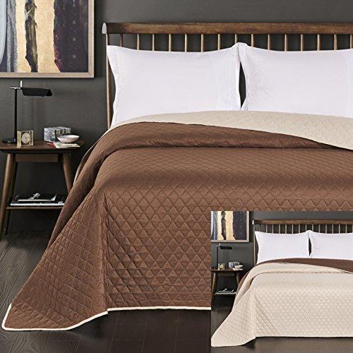 DecoKing 15131 Tagesdecke 200 x 220 cm Creme braun Schoko Schokolade Bettüberwurf zweiseitig pflegeleicht Axel