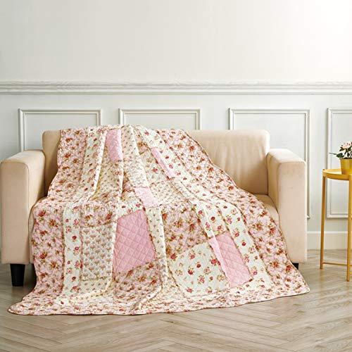Unimall gesteppt Tagesdecke Mädchen Bettüberwurf Baumwolle Patchwork Decke 150x200 cm Rosa Blumen Rosen Landhausstil