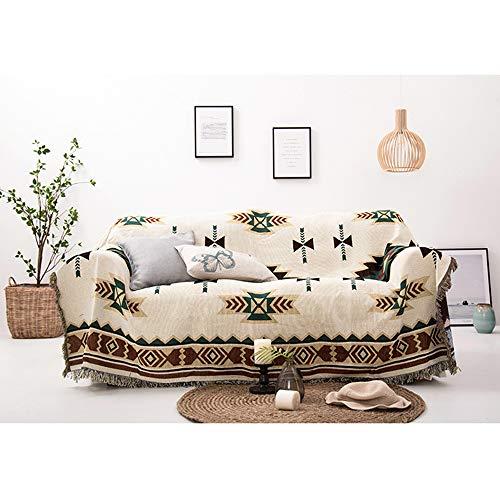 Decken Sucre Kuscheldecke Wendedecke 180x230cm,Sommerdecke Boho Baumwolle,Beige,Ideal Fürs Sofa,Teppich, Sessel,Tagesdecke,Tischdecken
