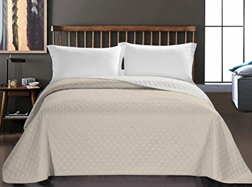 DecoKing Tagesdecke 170 x 210 cm weiß Hellbeige Bettüberwurf zweiseitig Steppung pflegeleicht Axel