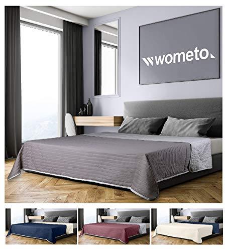 wometo Tagesdecke 220x240 cm OekoTex - Microfaser-Bezug grau hellgrau wattiert gesteppt Wende-Design XXL Sofa Couch Bett Bettberwurf