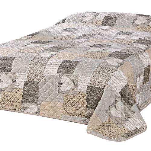 Delindo Lifestyle Tagesdecke Bettberwurf Herzen fr Doppelbett, Patchwork braun, 220x240 cm