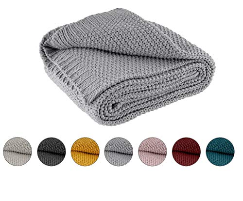 Kuscheldecke Strick 140x190 cm grau - Strickdecke OekoTex warme weiche Decke mit edlem und schlichten Strickmuster