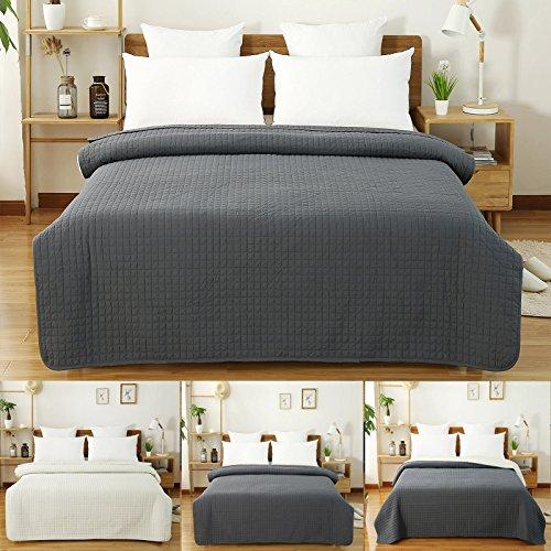 WOLTU BWP5004gr1, Tagesdecke Bettüberwurf Steppdecke Patchwork Wendedesign Kariert, Bettdecke Stepp Decke Doppelbett unterfüttert und Gesteppt, 170x210 cm, Dunkelgrau