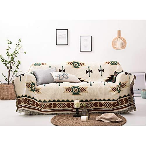 BINGMAX Überwurfdecke Baumwolle Modischer Böhmen Wohndecke Tagesdecke Sofa Bett Decke mit quaste für Kinder Erwachsene,Steppdecke für Couch