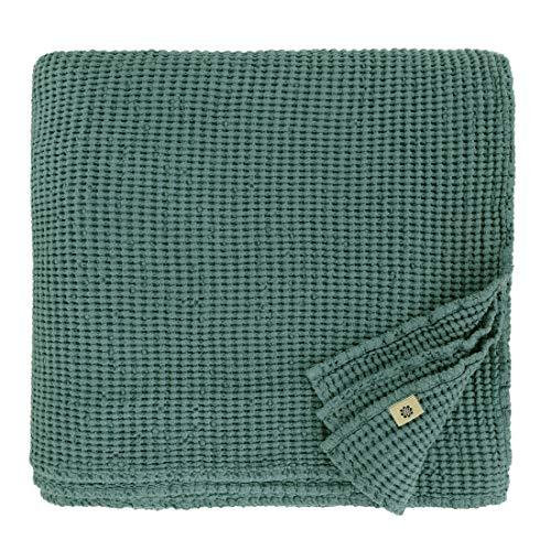 Linen & Cotton Plaid Decke Sommer Tagesdecke Waffelpique Enzo - 48% Leinen, 52% Baumwolle, Smaragd Grün (150 x 210 cm) Leinendecke Baumwolldecke Wohndecke Blanket Überwurf Bett Bettwäsche Bettüberwurf