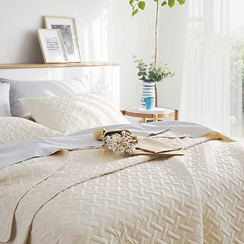 BEDSURE Tagesdecke 200x220 Bettüberwurf beige - Wohndecke Überdecke 200 x 220 cm für Sofa Couch aus Mikrofaser mit Ultraschall genäht, Bed Spread für Schlafzimmer Bett Sommer Komfort und Weich