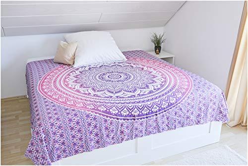 Collido Mandala Wandtuch aus Indien I 100% Baumwolle I ca. 210x220 cm I Indisches Bohemian Tuch I DEKO Wohnzimmer I Indischer Wandteppich als Überwurf oder Tagesdecke für Couch/Bett in Queen Size