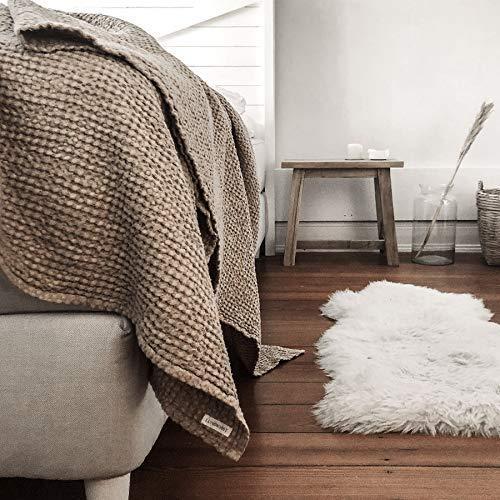 Leinen Decke Mila beige, Tagesdecke Waffelstoff, Picknickdecke aus Leinen, Überwurf, Leinendecke natur