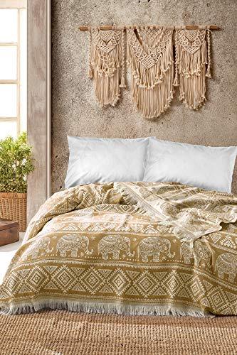 BOHORIA® Premium Tagesdecke Bali | 100% Baumwolle | Oeko-Tex® | Bettüberwurf Wohndecke Wendedecke Sofadecke mit Muster | extra-groß 220 x 240 cm (Elephant Tuscan Sun)