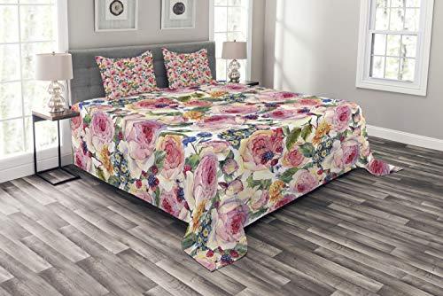 ABAKUHAUS Shabby Chic Tagesdecke Set, Shabby Chic Rose Floral, Set mit Kissenbezug Feste Farben, für Einselbetten 264 x 220 cm, Multicolor