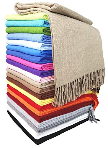 STTS International Baumwolldecke Wohndecke Kuscheldecke Tagesdecke 100% Baumwolle 130 x 170 cm sehr weiches Plaid Rio Beige (2)