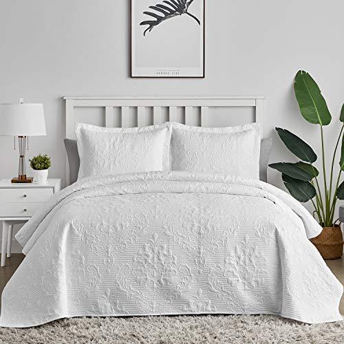 Hansleep Tagesdecke 200x220 cm Wohndecke Weiß Bettüberwurf Mikrofaser Bettdecke für Schlafzimmer Stepp Decke Super Weich & Komfort Geeignet für Bett