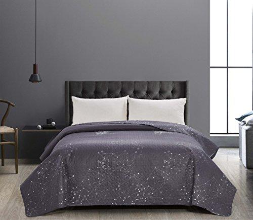 DecoKing 41000 Tagesdecke 170x210 cm Graphit weiß Bettüberwurf zweiseitig Steppung pflegeleicht geometrisches Muster grau Stahl anthrazit Hypnosis Collection Eagle