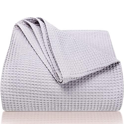 LAYNENBURG Premium Tagesdecke 150 x 200 cm - Waffelpique 100% Baumwolle - leichte Sommerdecke - Baumwolldecke als Bett-Überwurf, Sofa-Überwurf, Couch-Überwurf - luftige Sofa-Decke (grau)