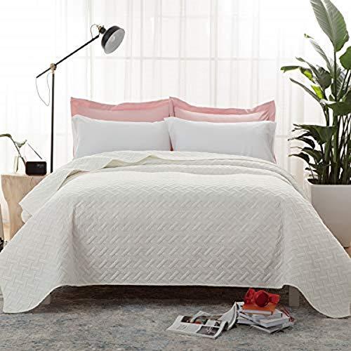 Bedsure Tagesdecke 220 240 weiß Schlafzimmer- Bettüberwurf 220x240 cm für Bett, Wohndecke aus Mikrofaser mit Ultraschall genäht, als Steppdecke Sommer Komfort und Weich