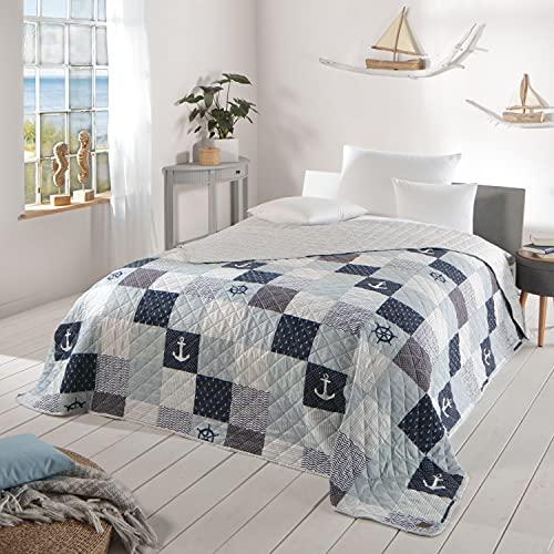 Delindo Lifestyle Tagesdecke Bettüberwurf MARITIM, für Doppelbett, 220x240 cm, Patchwork Marine blau