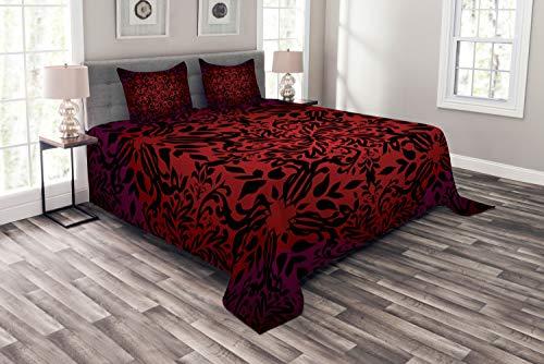 ABAKUHAUS rot schwarz Tagesdecke Set, Orient Blumen Blätter, Set mit Kissenbezügen Waschbar, für Doppelbetten 264 x 220 cm, Schwarz Bordeauxrot